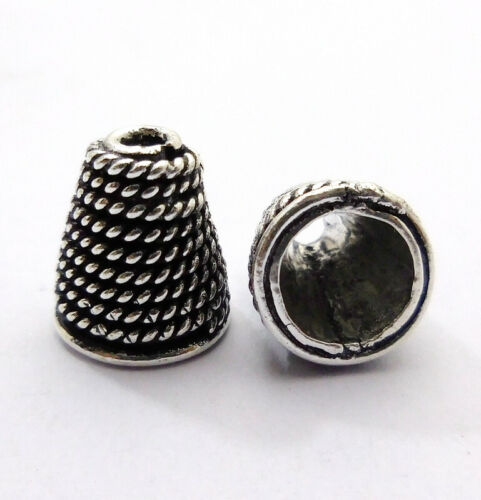 4 PCS 18X12MM CONE BEAD CAP OXIDIZED STERLING SILVER PLATED 77 PC272
