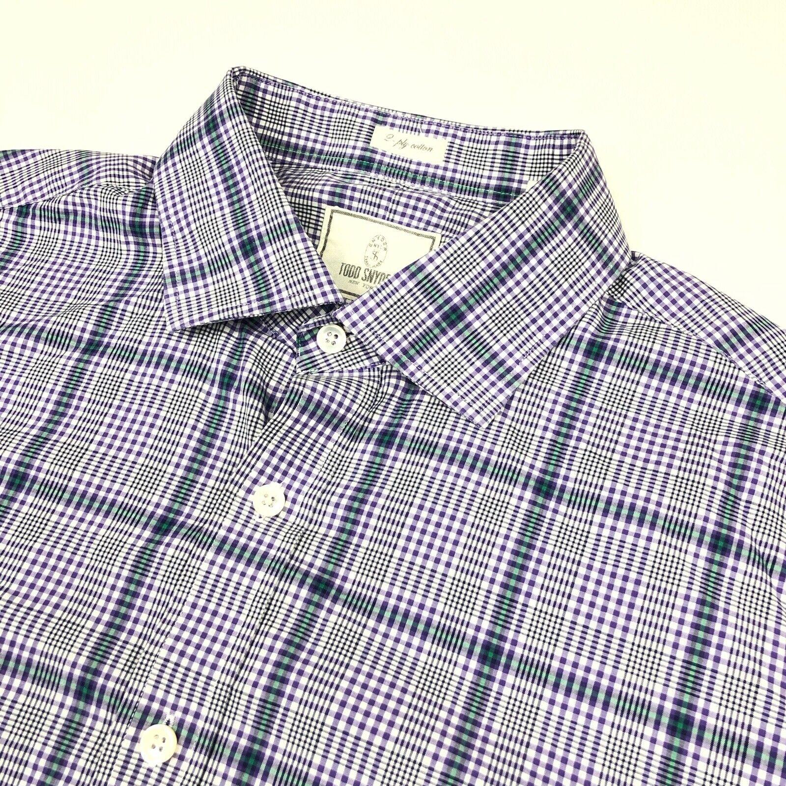 9368b0d2 TODD SNYDER New York Men's Button Shirt Purple • Size 17.5 35 Plaid ...