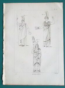 MYTHOLOGY-Greek-Goddesses-Pallas-or-Minerva-Ceres-1804-Antique-Print