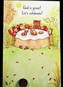Thanksgiving Bear Squirrel Fox Hedgehog Raccoon God Religious Greeting Card NEW