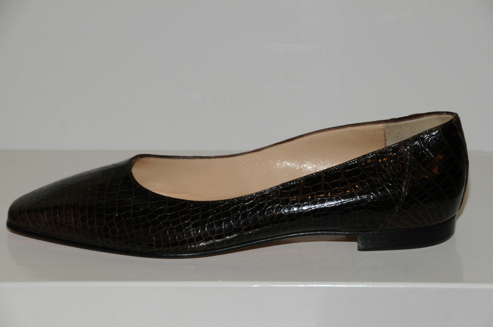 New MANOLO BLAHNIK Evangelist BROWN CROCODILE Alligator BALLET FLATS FLATS FLATS SHOES 35.5 2ea537