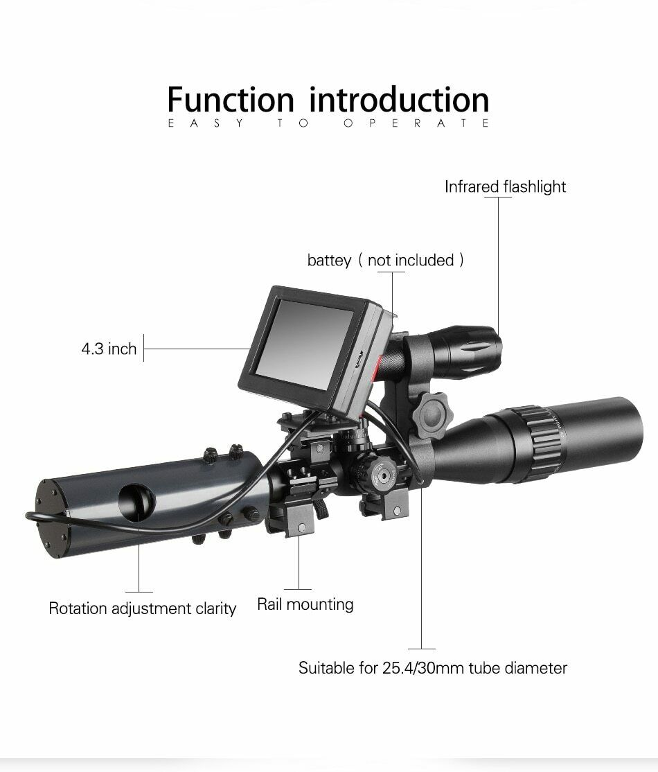 DIY Night Vision Scope Digital Camera for Rifle Scope with IR Torch and Monitor