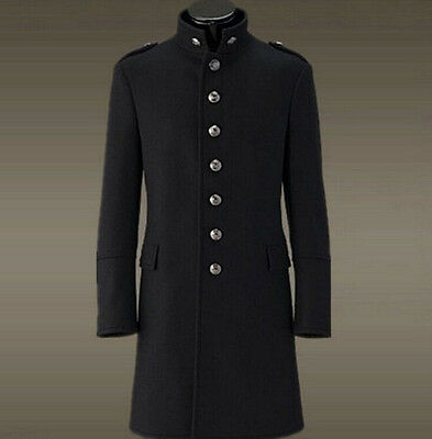 Mens German Thick Wool Single-breasted Military Uniform Trench Coat Overwear Sz