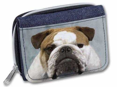 AD-BU1JW Bulldog Dog Girls//Ladies Denim Purse Wallet Christmas Gift Idea