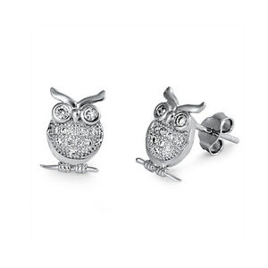 Image Is Loading 925 Sterling Silver Owl Stud Earrings With Clear