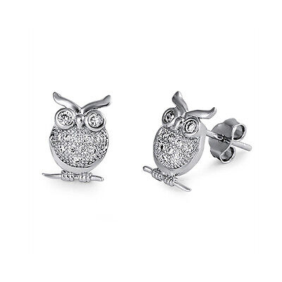 925 Sterling Silver Owl Stud Earrings With Clear Cz New Ebay