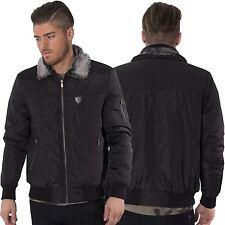 Fremont & Harris Mens Ma1 Bomber Jacket Faux Fur Collar Black ...