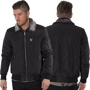 Fremont-amp-Harris-Mens-MA1-Bomber-Jacket-Faux-Fur-Collar-Black-Winter-Coat-S-XL