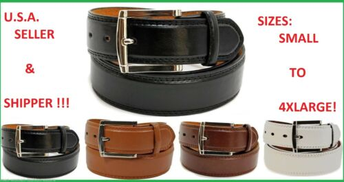 """LARGE XL NEW MENS LEATHER 1 1//2/"""" INCH DRESS BELT BLACK BROWN WHITE SIZE S M"""