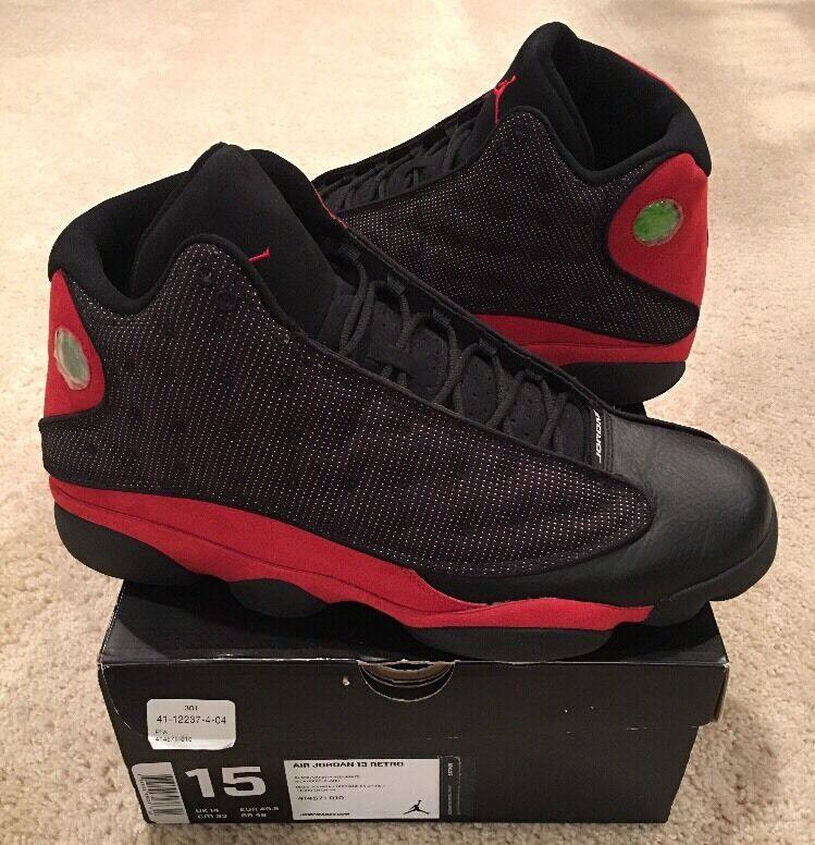 Nike Air Jordan Retro 13 XIII Bred Size 15 Black Varsity Red White 2013