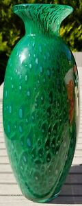 Large-Vintage-Emerald-Green-Vase-Bubble-Peacock-Style-Pattern