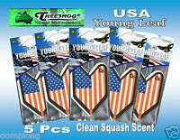 5 Pcs Treefrog Usa Young Leaf Car Air Freshener Clean Squash Scent.jdm