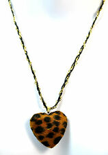 ELEGANT GOLDEN LEOPARD PRINT HEART NECKLACE CHUNKY BRAND NEW STUNNING  (CL1)