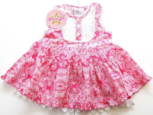 OA Kleid Gr.86 80 Mim-Pi NEU 100/% Baumwolle rosa pink Spitze baby sommer