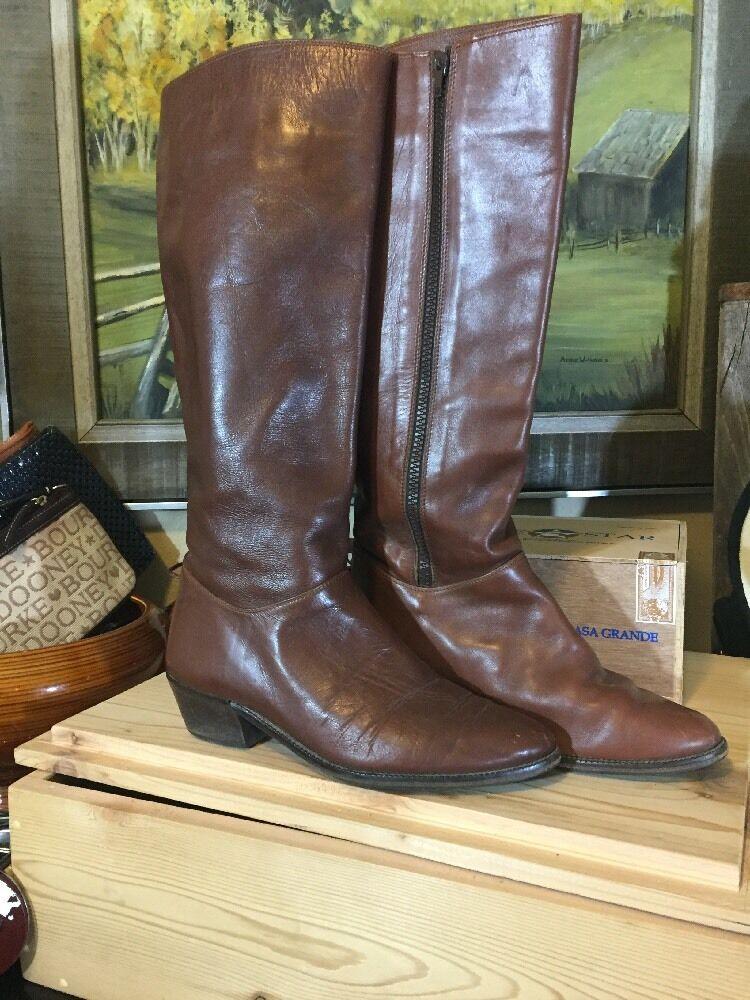Women's Land End  7.5 B Cognac Brown Full Zip Riding Boots