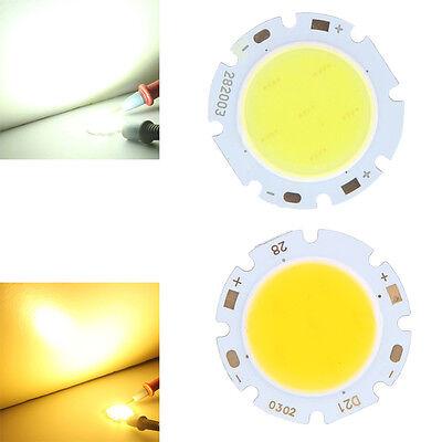 3W Round COB High Power LED Chip Bulb Lamp Light Cold/Warm White 9-12V 300LM tu