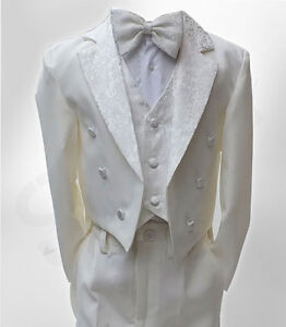 f026ce78d1f4 Baby Boys 5 Piece Ivory Tuxedo Tail Suit Page Boy Outfit in Cream 3 ...