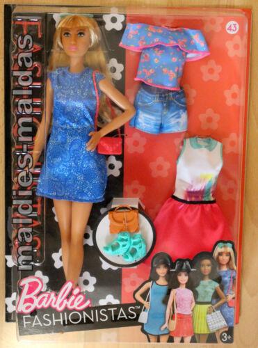 BARBIE FASHIONISTAS 43 con Fashion Moda veste azzurra trapunta dtf06 Nuovo//Scatola Originale Bambola