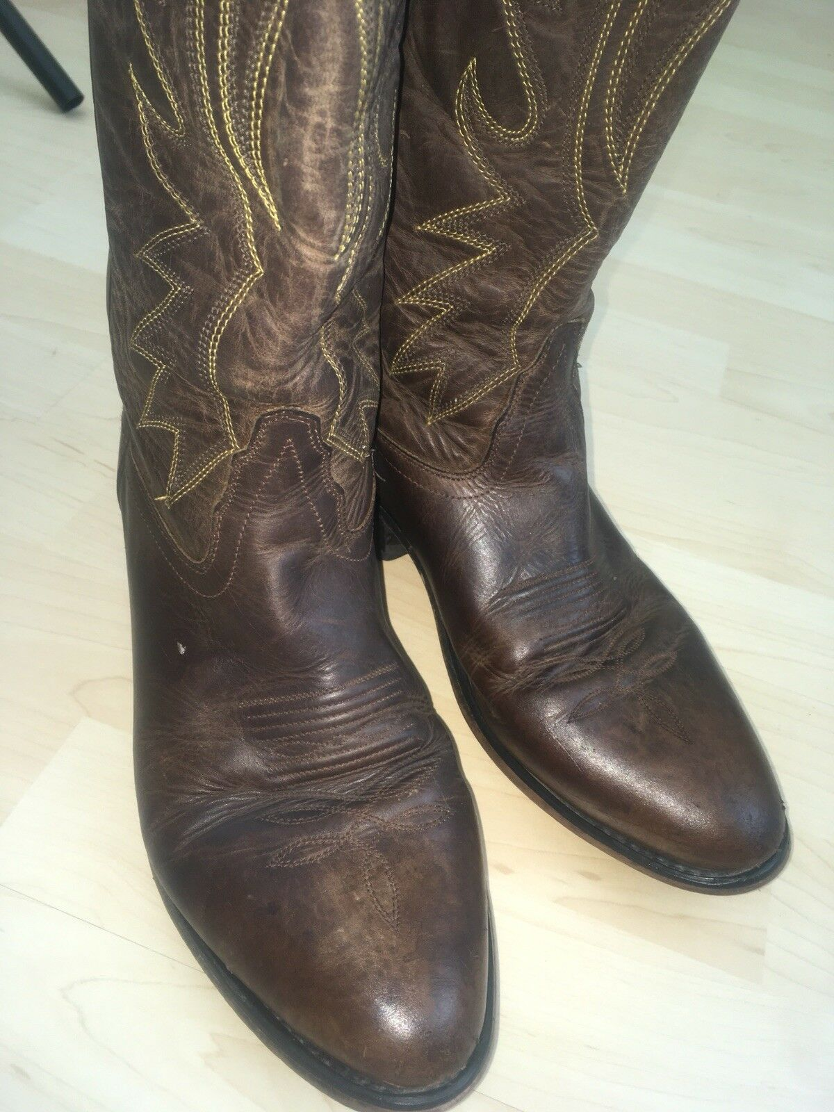Old West Men's Size 9-9.5 (Approx.) Brown Leather Cowboy Boots OW 2051