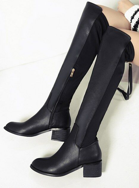 Boots black knee until thigh 5 cm comfortable warm like leather 9277