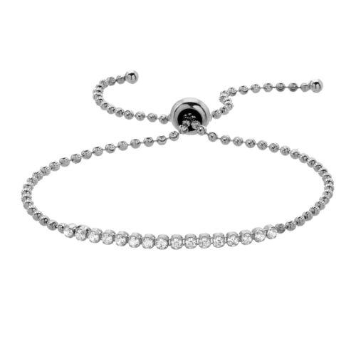 925 Sterling Silver Diamond-Cut Beads Slider Adjustable Bracelet