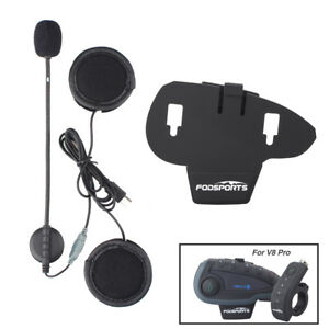 Details about Headphone mic/speaker+Clip for V8 BT Remote Bluetooth  Motorcycle Helmet Intercom