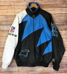 huge discount 65653 e8014 Details about NFL Logo Athletic PRO LINE Shark Tooth Leather Jacket  Carolina Panthers Sz L