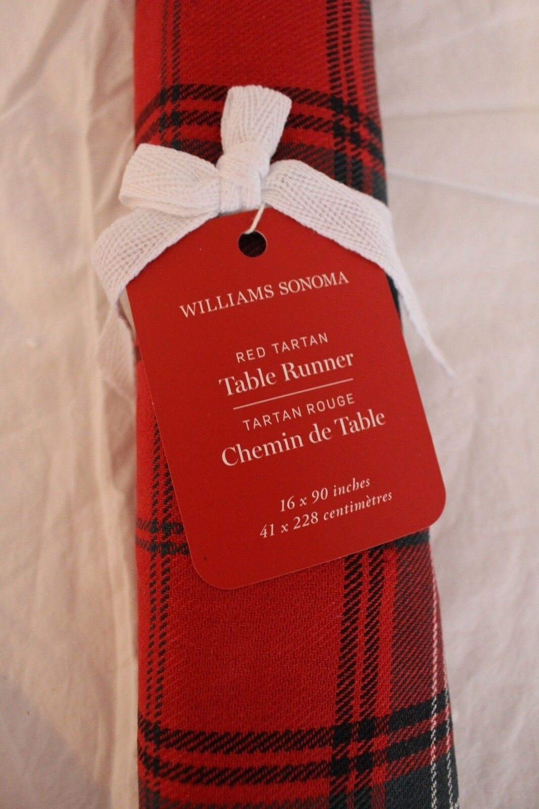 Neuf avec étiquettes WILLIAMS SONOMA Tartan Rouge Noël 16 x 90 Table courirner Plaid