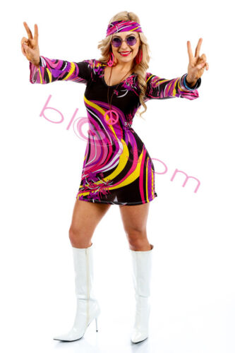 I88 60s 70s Go Go Retro Hippie Dancing Groovy Party Disco Fancy Dress Up Costume