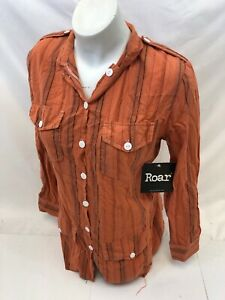 ROAR-WOMENS-Button-Down-LONG-SLEEVE-Shirt-Western-Tribal-MULTI-COLOR-32-NWT