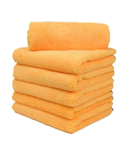 6X Microfiber Elite Towel Deluxe House Car Cleaning Cloths 16x24 Gold/Purple