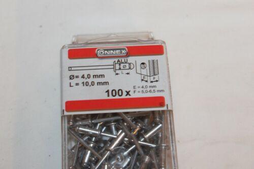100 stk BLINDNIETEN-POPNIETEN-FLACHKOPF-DURCHMESSER 4,0mm-LÄNGE 10mm-CONNEX