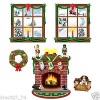 Christmas Holiday Party Decoration Fireplace Windows Wreath Puppy Props