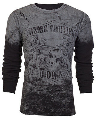 Xtreme Couture AFFLICTION Mens THERMAL T-Shirt DEAD OR ALIVE Biker UFC S-3XL $58