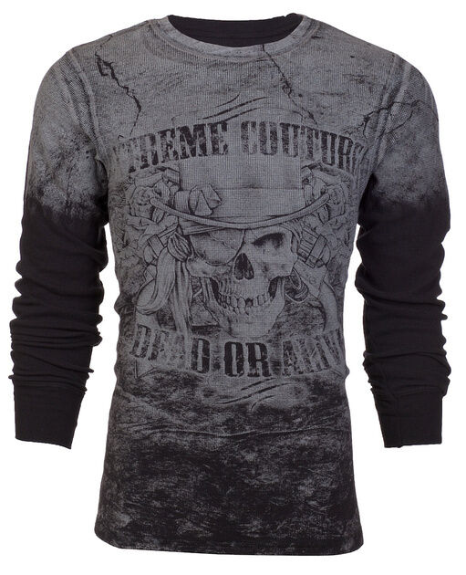 Xtreme Couture AFFLICTION Mens THERMAL T-Shirt DEAD OR ALIVE Biker UFC M-3XL $58