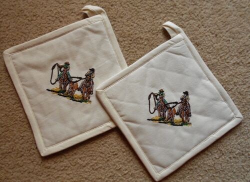 WESTERN TEAM ROPER POT HOLDERS EMBROIDERED BRANDED DESIGN 8X8 100/% COTTON RODEO