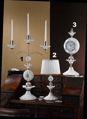 Candeliere A 3 Lume Piccolo E Orologio Via Veneto Ceramica Foglia Oro Cristalli Volume Groot