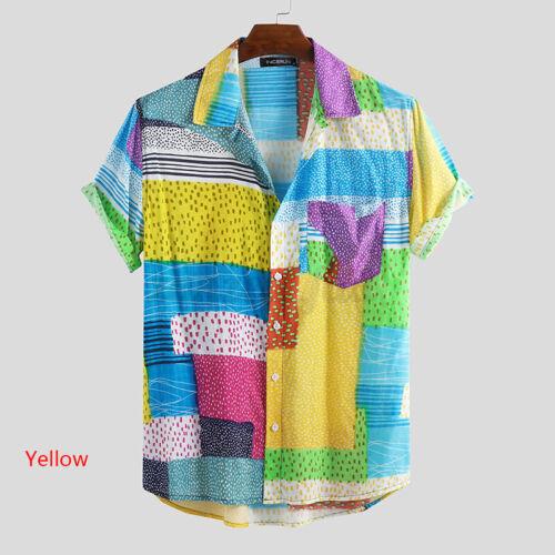 Herren Kurzarm Shirt Bluse Bohemian Printed Strand Holiday Sommer Knopf Top Hemd