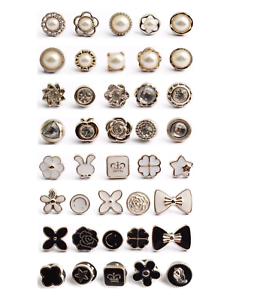 Anti-Glare Button Concealed Buckle  Adjustment Nail-Free Pearl Button 30 Pieces