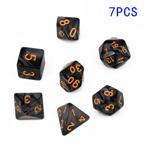 7 types Polyhedral Dice For DND RPG MTG 7pcs 1Set 4//6//8//10//12//20///% New Hot