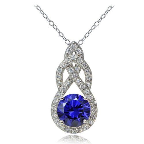 Platine plaqué argent sterling 100 Facettes Bleu Violet Zircone cubique Infini Goutte Collier