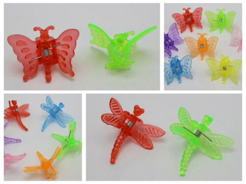 125 Mixed Color Plastic Cute Butterfly Dragonfly Hair Claw Clips Clamp for Kids