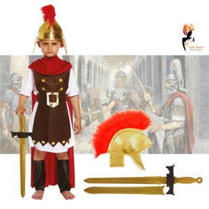Kids Roman Warrior Soldier Tunic Book Day Week Fancy Dress Costume