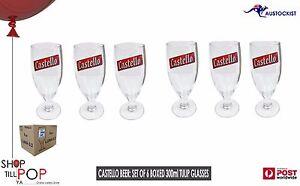 Castello Bira Boxed 6 x Tulip Beer Glasses 300ml  Italian  BNIB MAN CAVE