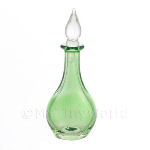 Casa De Muñecas En Miniatura Hecho a Mano De Cristal Verde Clásico Decantador Curvado