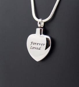 316L S/Steel Forever Loved Silver Heart Keepsake Cremation Cinerary Urn Pendant