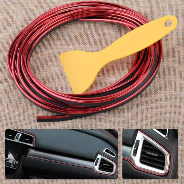 5M Auto Car Flexible Interior Moulding Trim Decorative Thread Strip Deco Red DIY