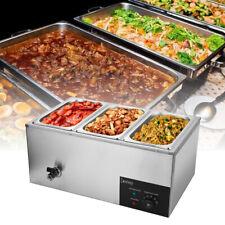 600w Food Warmer 3 Pan Buffet Steam Table Bain Marie Restaurant Commercial 69qt