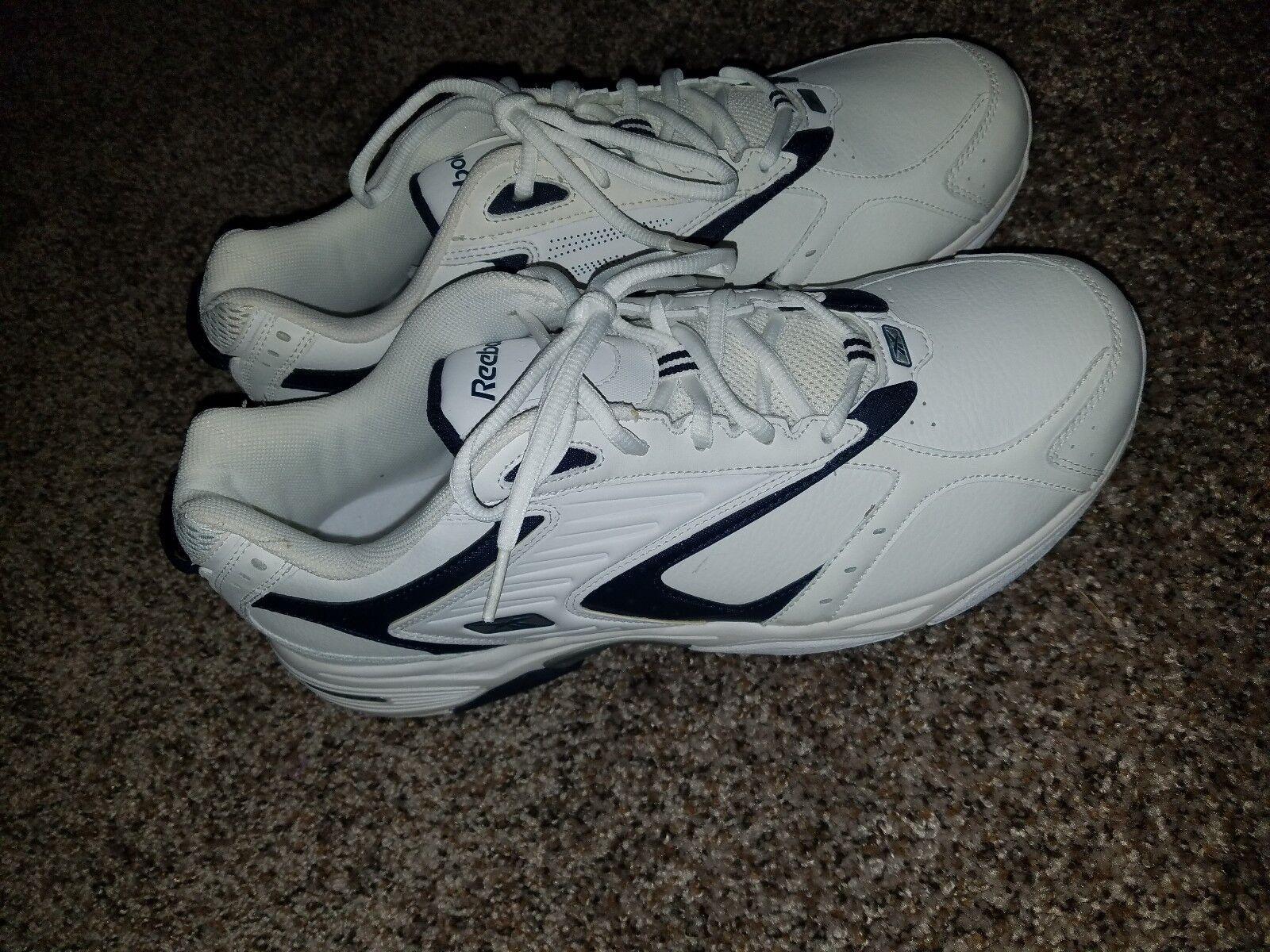 Reebok para hombres 12 4E Extra Ancho de Cuero Clásico blancoo Azul Calzado Atlético Gimnasio Correr