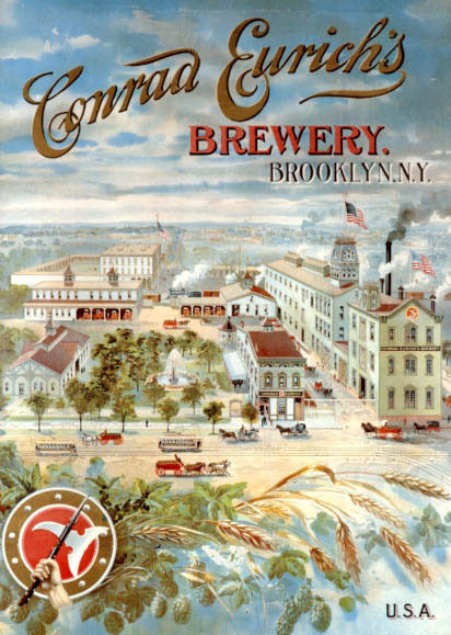 BEER WHEAT CONRAD EURICH BREWERY BROOKLYN NY US VINTAGE POSTER REPRO